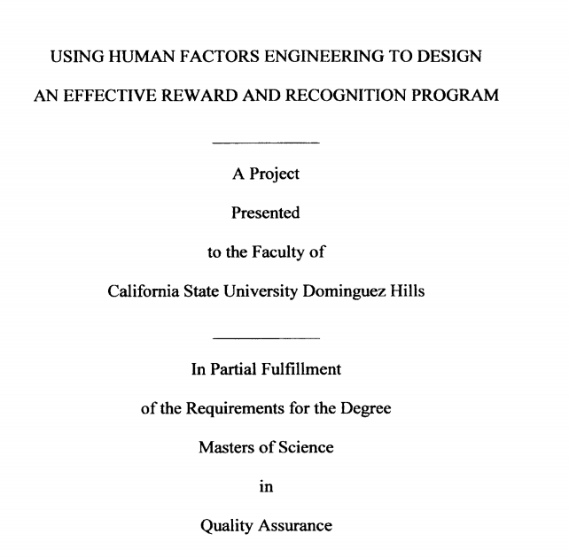 Cover page for Quality Assurance thesis from CSUDH student.