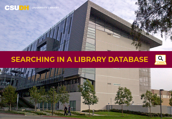CSUDH University Library video cover for Searching in a Library Database