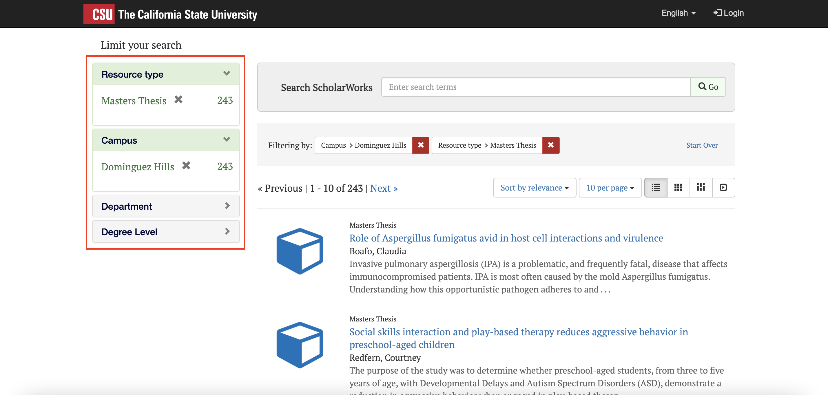 ScholarWorks with filters highlighted.