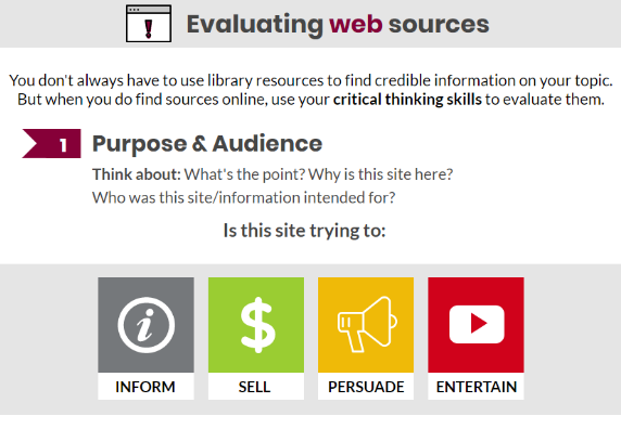 Preview of Evaluating Web Sources infographic.