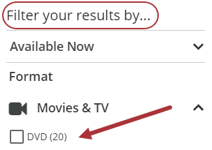 Arrow points to DVD format under options to filter your results by.