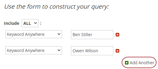 Select the option, Add Another, to create a complex search.