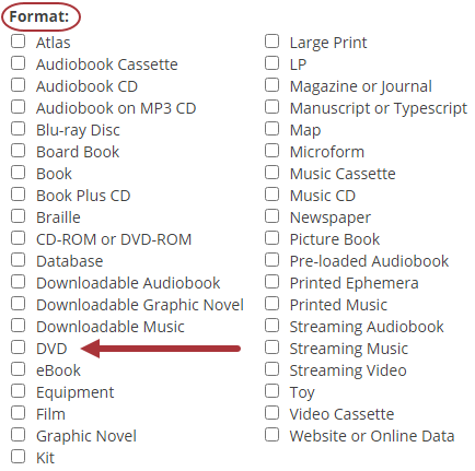 DVD format option in Advanced Search.