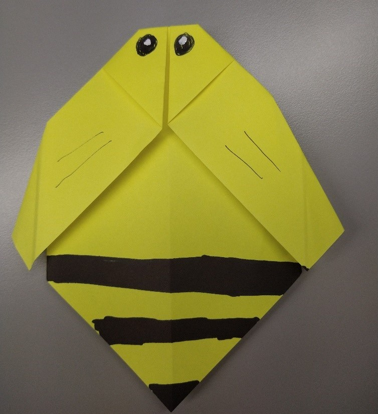 picture of a paper origami bee