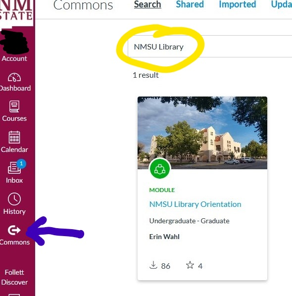 Screenshot of Canvas Commons page with the Library Modules search results. Search term circled in yellow, purple arrow pointing to Canvas Commons icon.