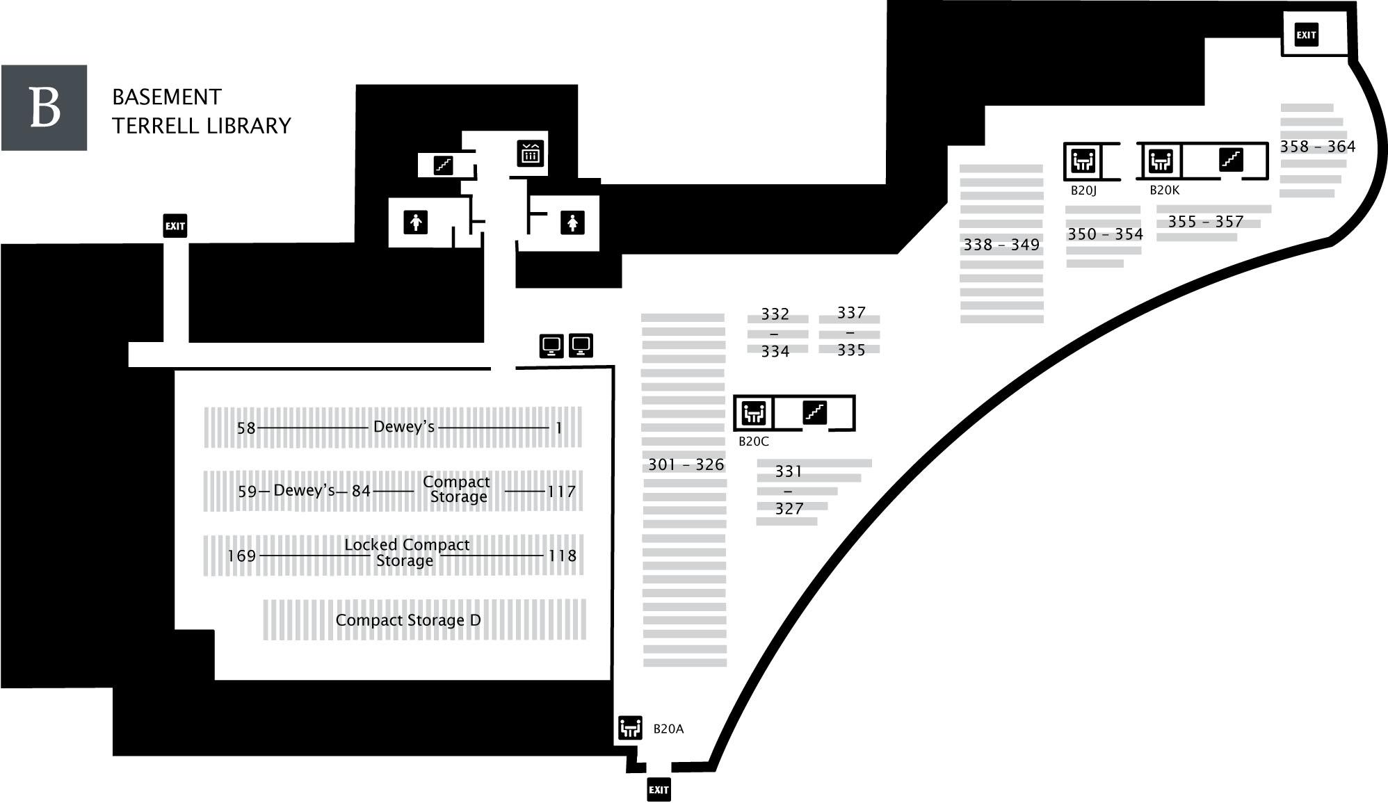 Terrell Library Basement Floor Map