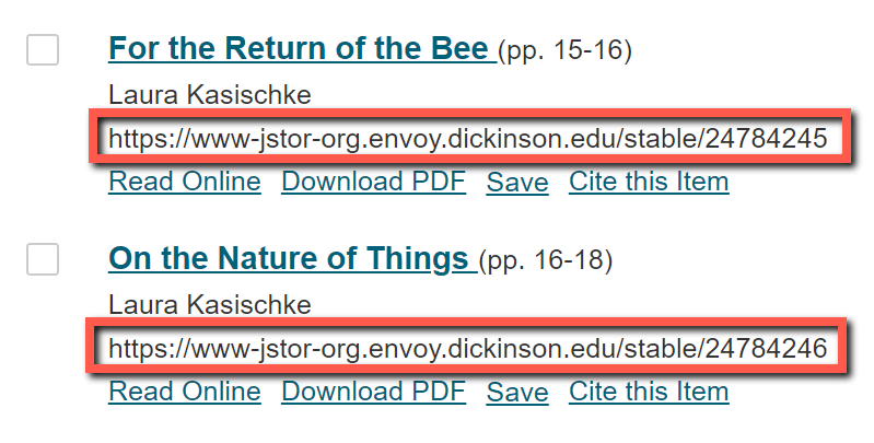 JSTOR URL on journal page