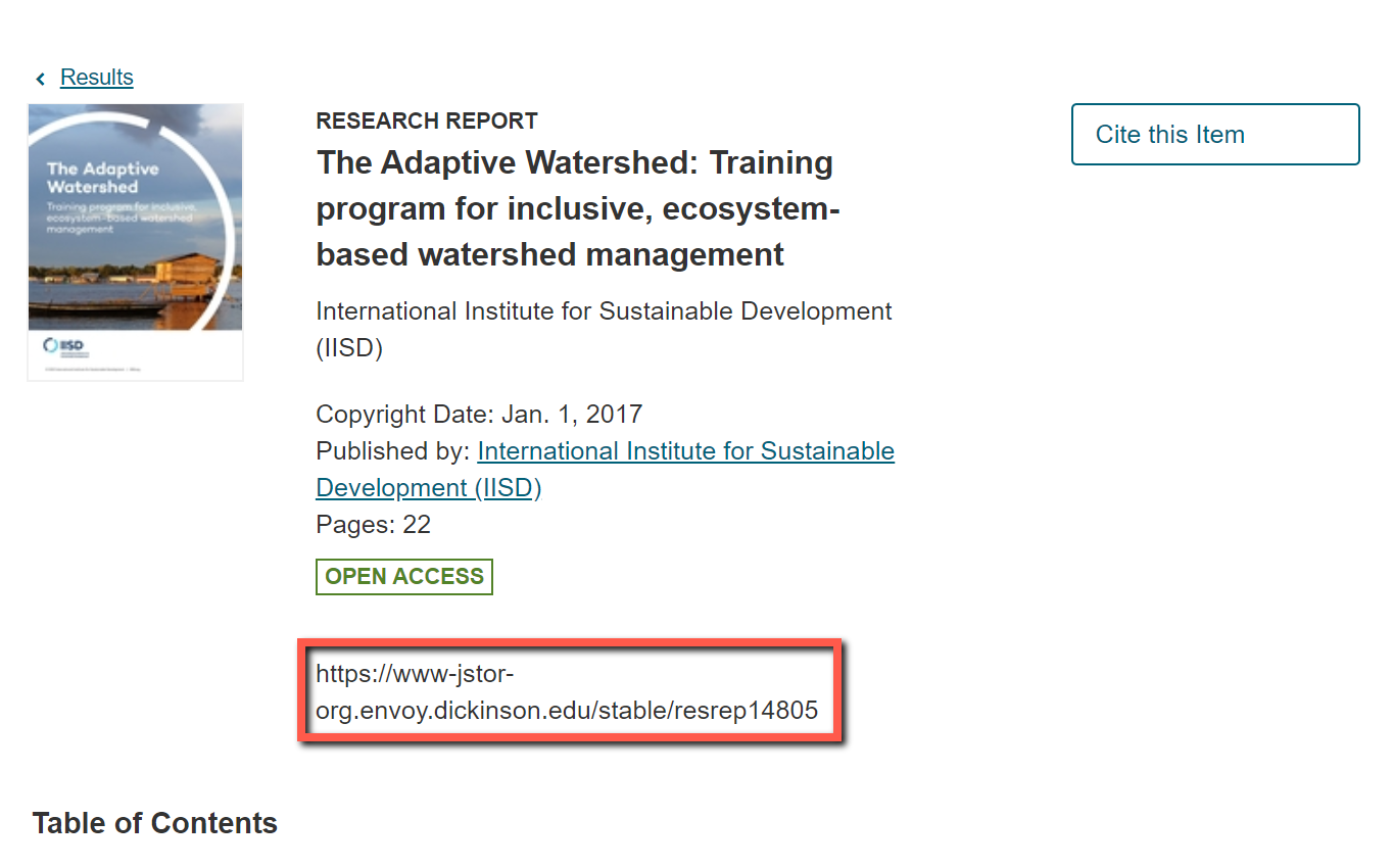 JSTOR URL on book page
