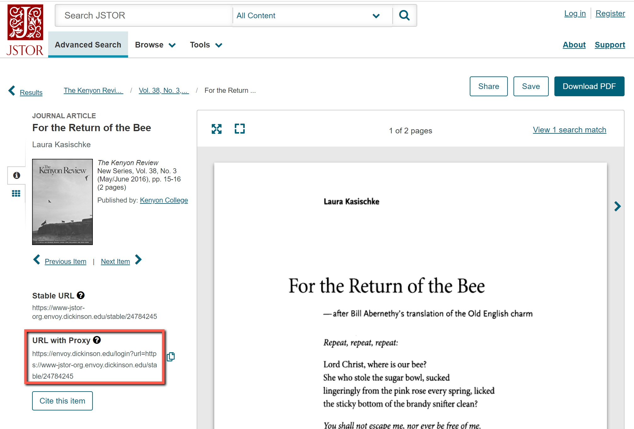URL with proxy permalink on JSTOR article page