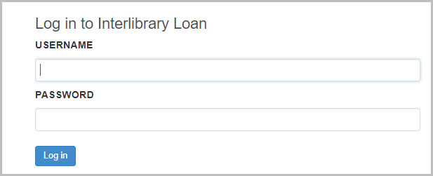 image of the inter library loan login page asking for your username and password.