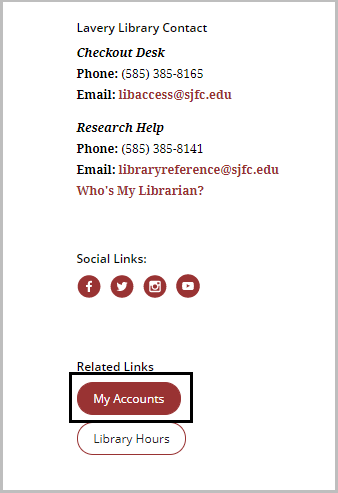 "partial Image of the library home page showing ""My Accounts"" on the left had side of the page under related links"