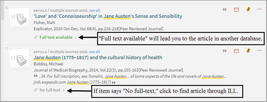 When you find an article if it says full text available click on the link which will lead you to the article in another database.  If the item says No Full-Text clink to find the article through ILL