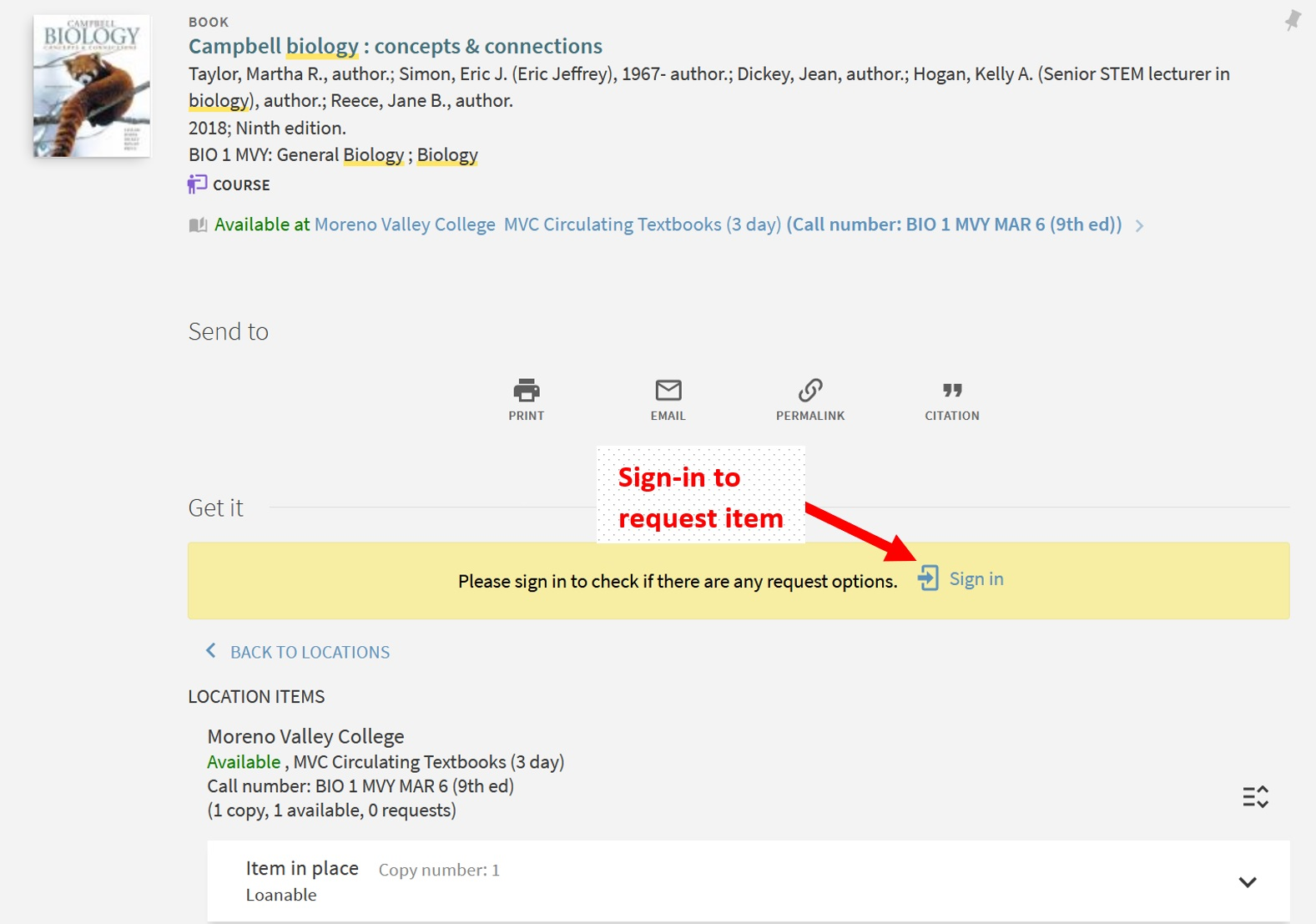 Catalog record screenshot of how to sign-in to account