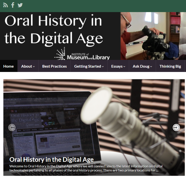 Oral History in the Digital Age website screencapture