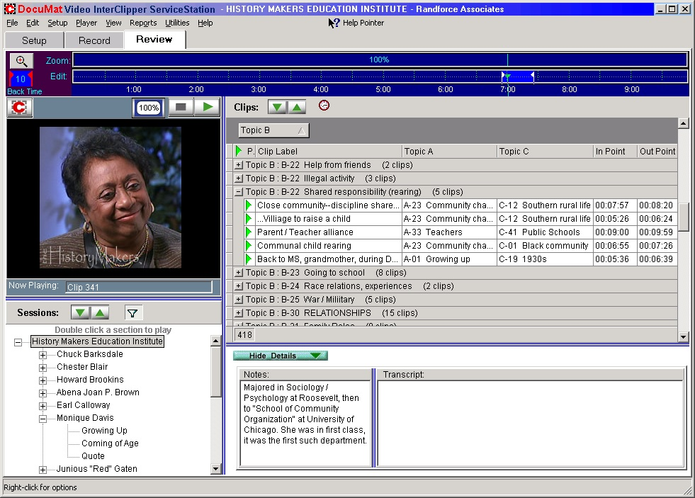 Screenshot of InterClipper indexing interface within HistoryMakers digital oral history video archive showing subjects assigned to video clips.