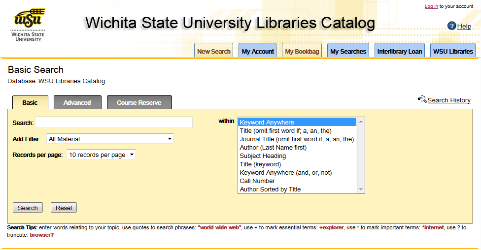 Screenshot of WSU Libraries Catalog Basic Search