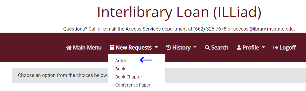 Types of materials that can be requested through Interlibrary Loan