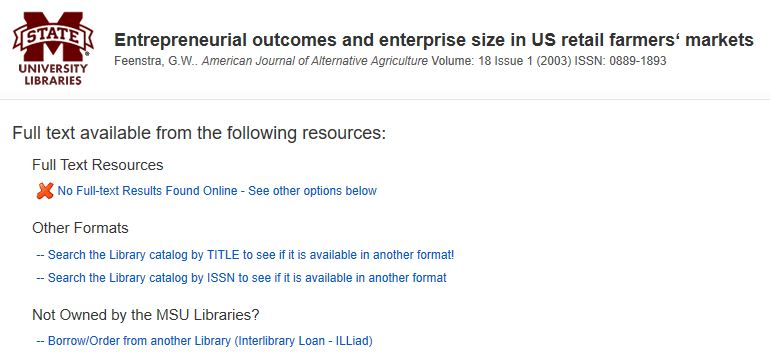 Find It Page showing links to see print availability and to request through Interlibrary Loan