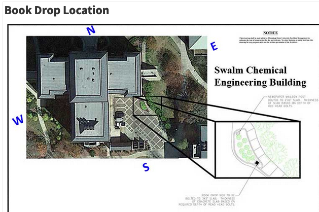 Aerial image of the Swalm building with location of the book drop highlighted
