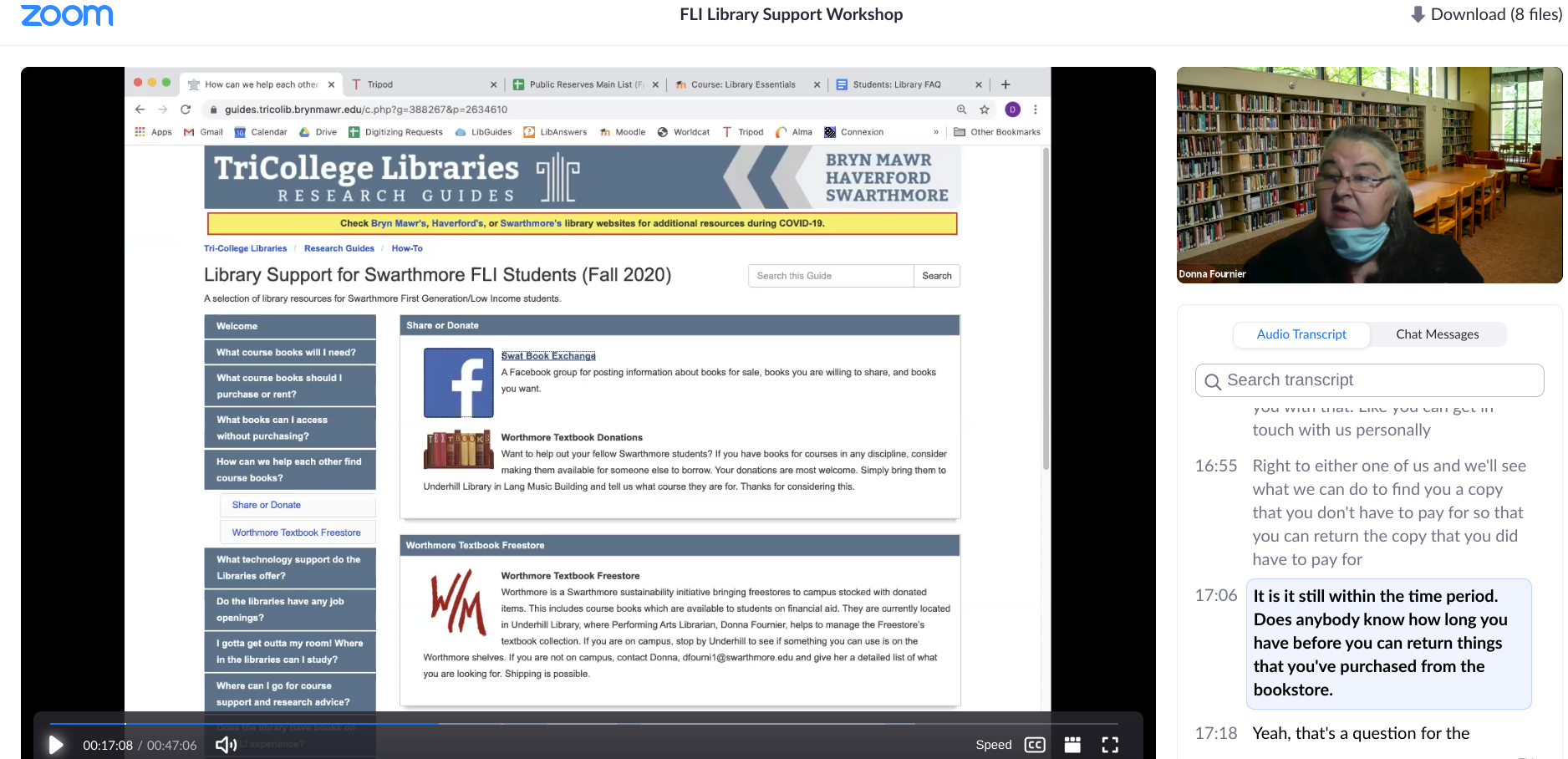 screenshot of video from library workshop with libguide and Donna pictured, speaking