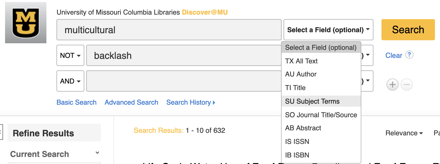 Change select a field to SU Subject Terms