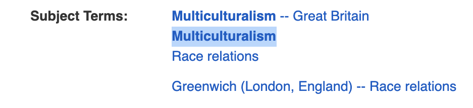 List of subject terms including multiculturalism