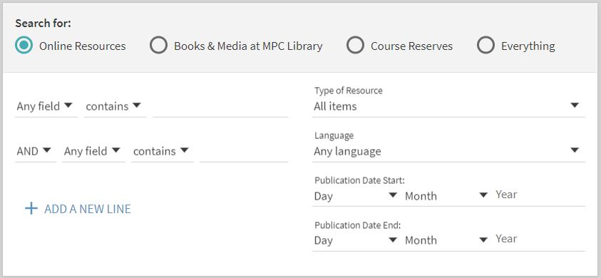 Screenshot of advanced search.  Categories include Search for online resources, books and media at MPC Library, Course Reserves, everything, Material type, language, and dates.  Two search boxes available.
