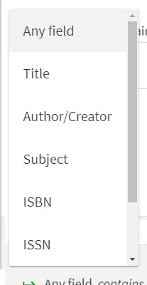 Screen shot of a dropdown menu with options including Any field, Title, author creator, subject, ISBN and ISSN.