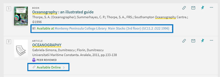 Screen shot of two library items found in One Search.  Two Circles around the location to find the items. One available online and the other through the Main Stacks of the library.