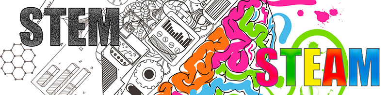 A horizontal banner that says STEM and STEAM. Background design of technology and a colorful brain.