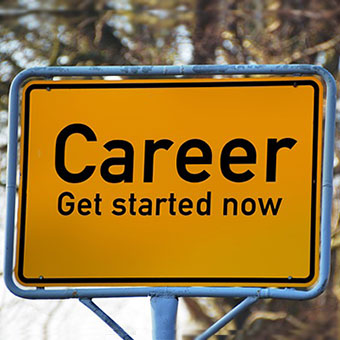"Photo of a street sign that says, ""Career Get Started Now."""