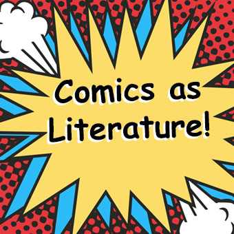 One Comic Panel with Comics as Literature in side.