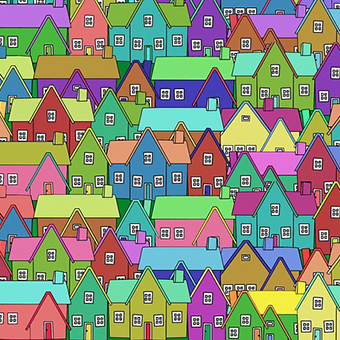 Cartoon picture of a neighborhood full of houses.