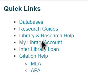 Screen shot of the quick links located on the library's homepage.  Mouse clicking My Library Account option