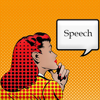 "Comic cartoon of a woman thinking and saying ""Speech""."