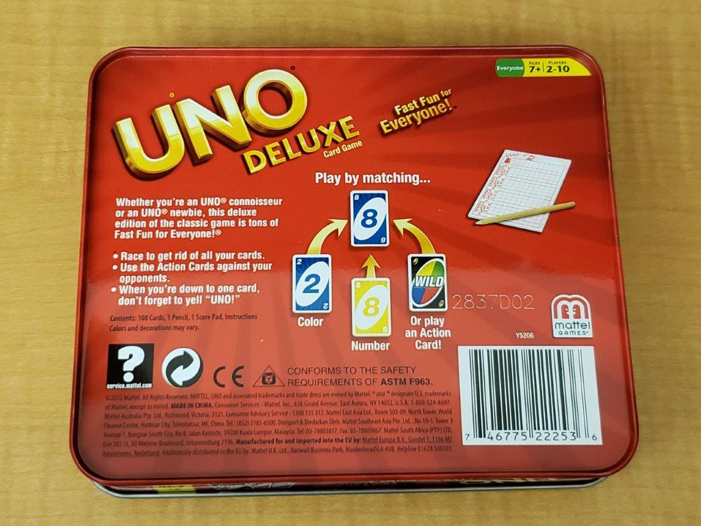 Image of bottom of Uno Deluxe tin