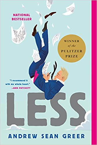 cover image, Less (a blond man in a suit, falling)