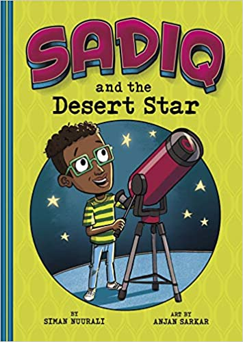 Sadiq and the Desert Star (a Black boy with glasses, smiling, in front of a telescope)
