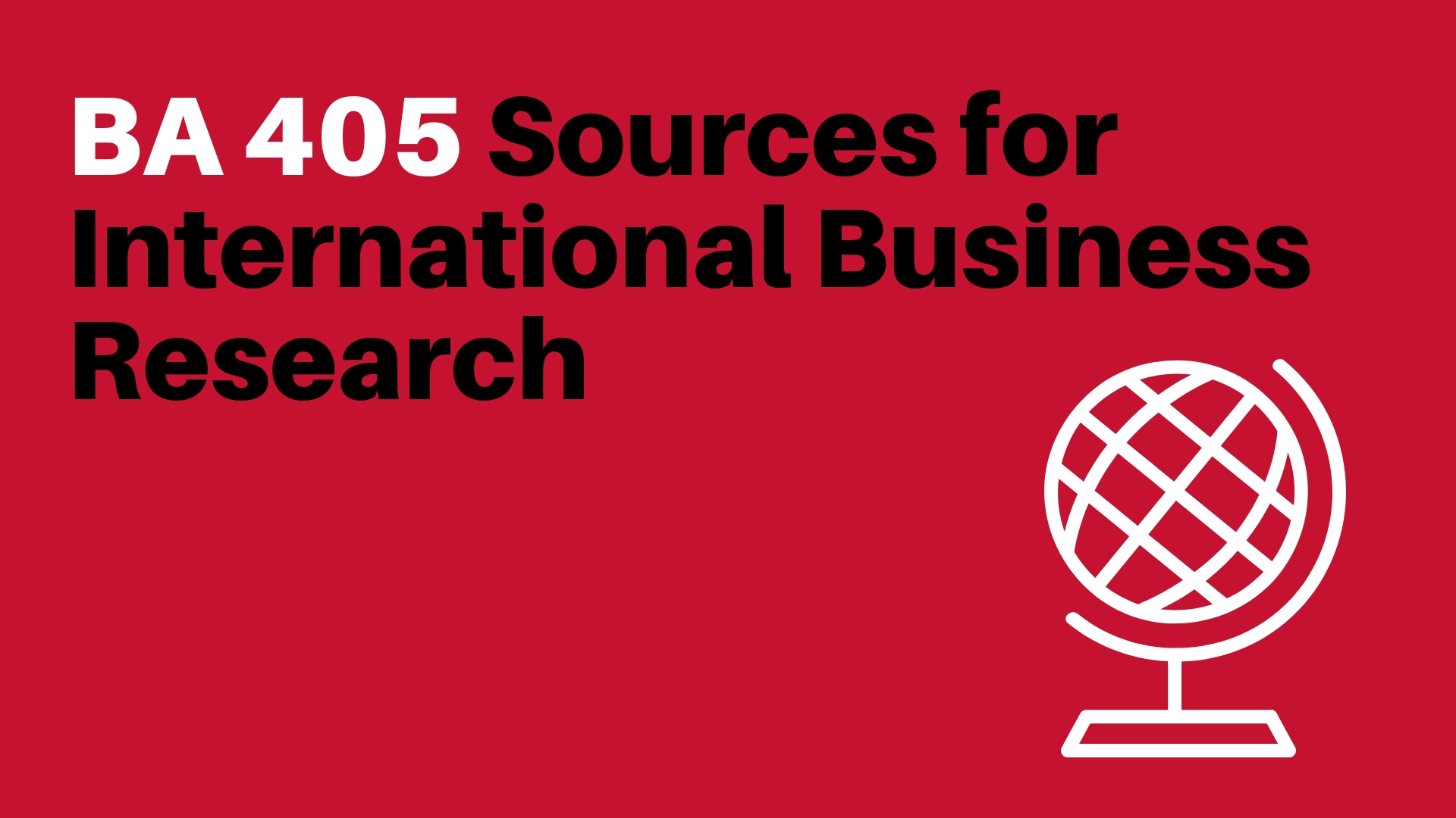 Sources for International Business Research