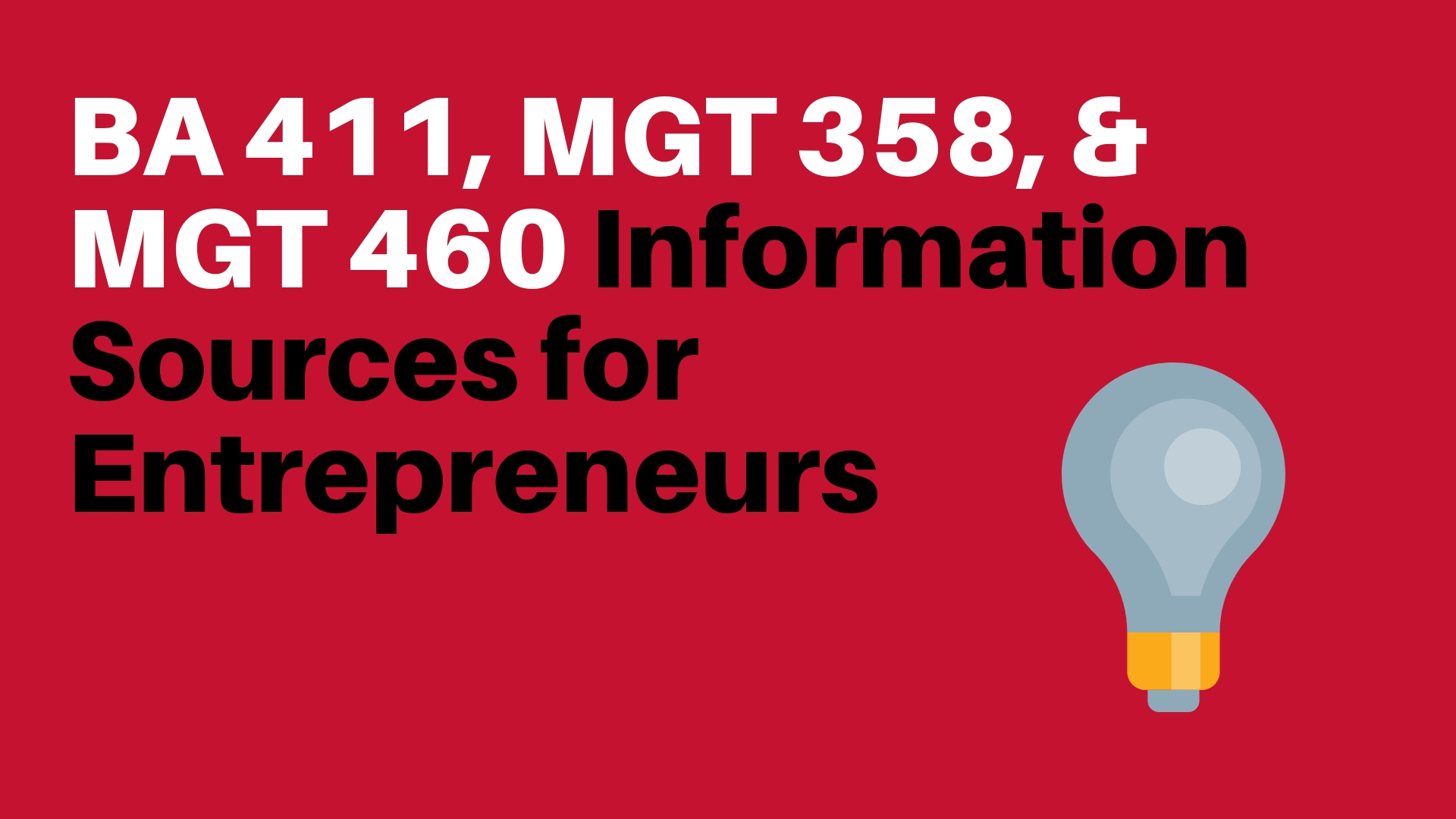 Information Sources for Entrepreneurs