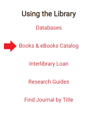 Books and EBooks Catalog link on the library page