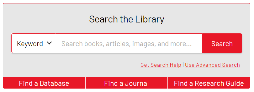 screenshot of the search box and links on the library's website where the Find a Database link is located.