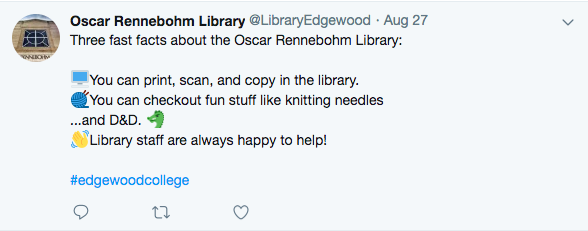 Tweet about library resources