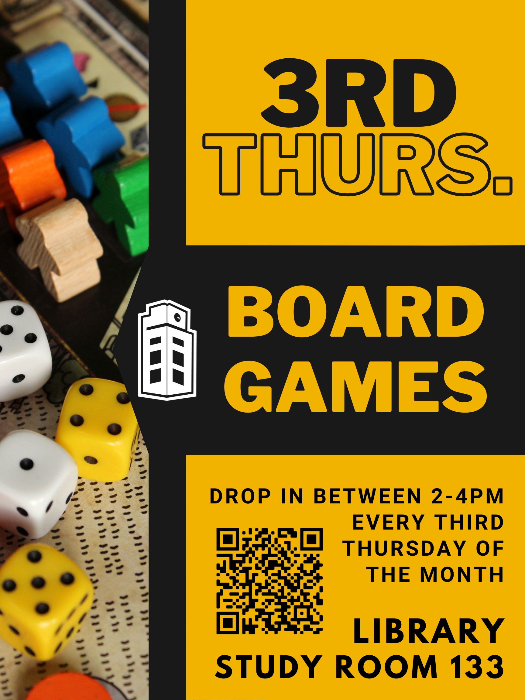 Third Thursday Board Games, 2-4pm, Library Study Room 133