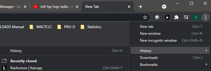 upper right corner of google chrome browser window showing dropdown menu