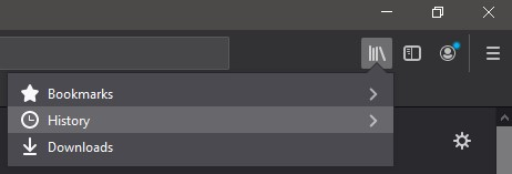 upper right corder of firefox browser window showing dropdown menu