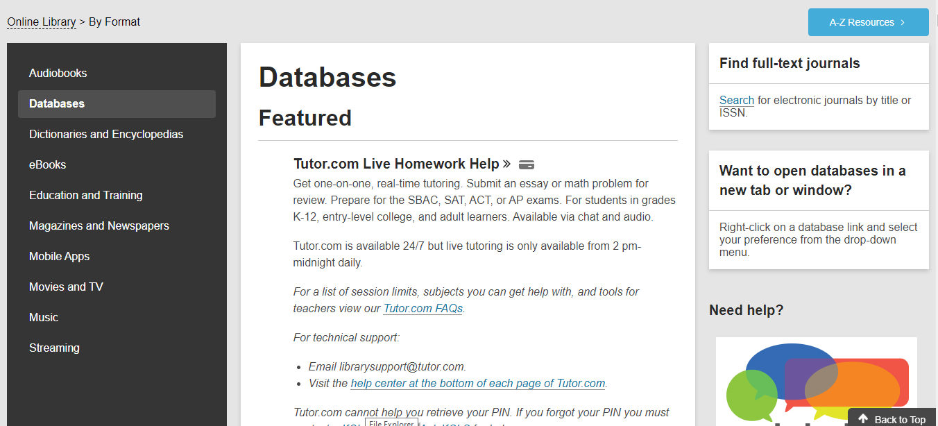 kcls databases page