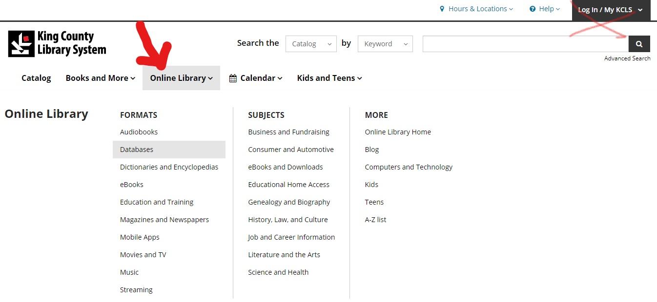 kcls online library dropdown menu