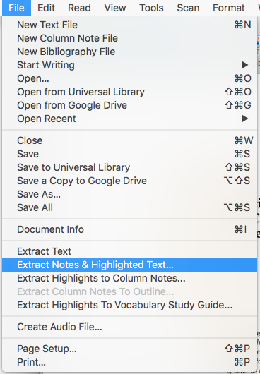 Extract notes and highlighted text