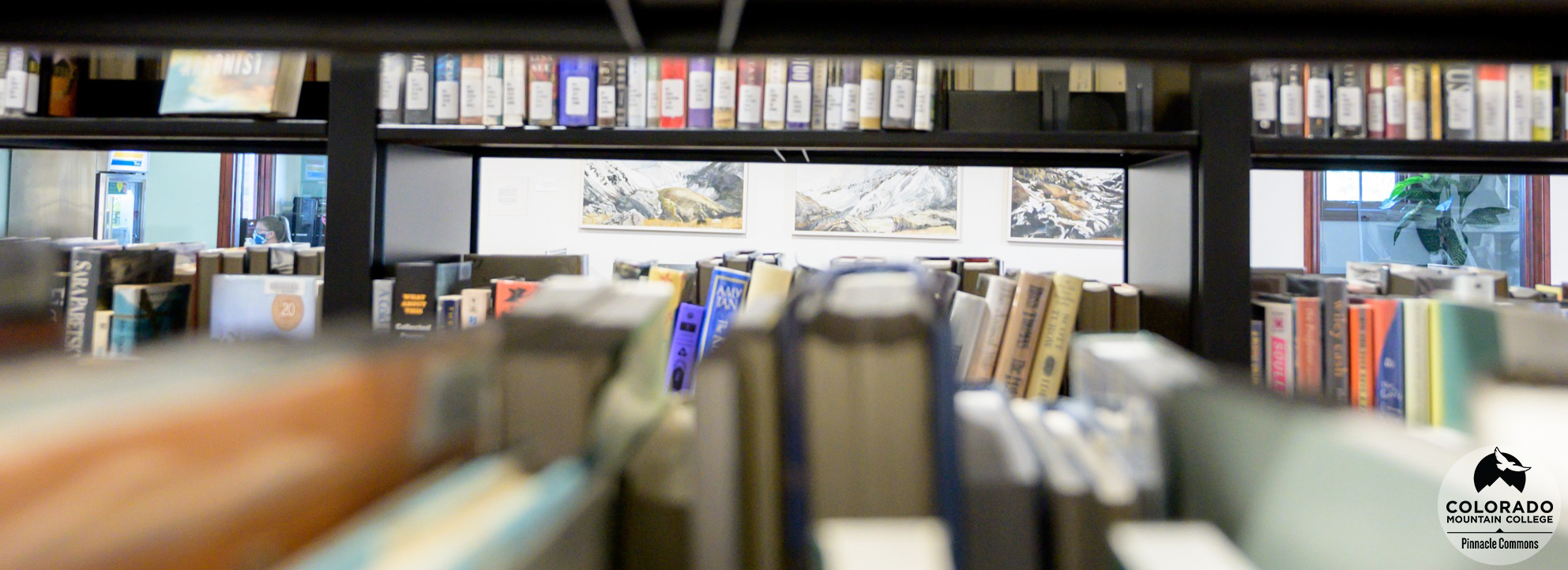 View through the book stacks in the Leadville Learning Commons.